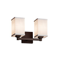 Justice Design Group Textile 2 Light Vanity Light in Dark Bronze FAB-8432-15-WHTE-DBRZ