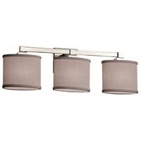 Justice Design FAB-8433-30-GRAY-CROM Textile 3 Light 25 inch Polished Chrome Bath Bar Wall Light Oval