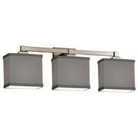Justice Design FAB-8433-55-GRAY-NCKL Textile 3 Light 24 inch Brushed Nickel Bath Bar Wall Light Rectangle