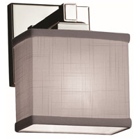 Justice Design FAB-8437-55-GRAY-CROM Textile 1 Light 7 inch Polished Chrome ADA Wall Sconce Wall Light Rectangle