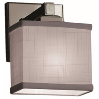 Justice Design FAB-8437-55-GRAY-NCKL Textile 1 Light 7 inch Brushed Nickel ADA Wall Sconce Wall Light, Rectangle
