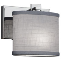 Justice Design FAB-8447-30-GRAY-CROM Textile 1 Light 7 inch Polished Chrome ADA Wall Sconce Wall Light Oval