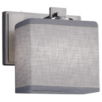 Justice Design FAB-8447-55-GRAY-NCKL Textile 1 Light 7 inch Brushed Nickel ADA Wall Sconce Wall Light Rectangle