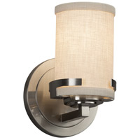 Justice Design FAB-8451-10-CREM-NCKL Textile 5 inch Brushed Nickel Wall Sconce Wall Light in LED, Cream, Atlas