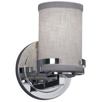 Justice Design FAB-8451-10-GRAY-CROM Textile 1 Light 5 inch Polished Chrome Wall Sconce Wall Light Cylinder w/ Flat Rim