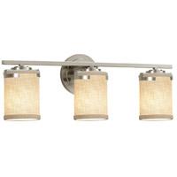 Justice Design FAB-8453-10-CREM-NCKL Textile 23 inch Brushed Nickel Bath Bar Wall Light in LED Cream Atlas