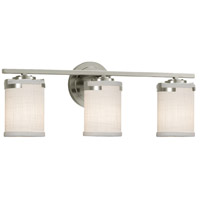 Justice Design FAB-8453-10-WHTE-NCKL Textile 23 inch Brushed Nickel Bath Bar Wall Light in LED White Atlas