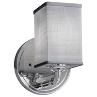 Justice Design FAB-8461-15-GRAY-CROM Textile 1 Light 6 inch Polished Chrome Wall Sconce Wall Light Square w/ Flat Rim