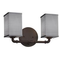 Justice Design FAB-8462-15-GRAY-DBRZ Textile 2 Light 14 inch Dark Bronze Bath Bar Wall Light Square w/ Flat Rim
