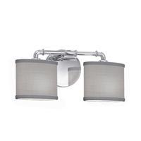 Justice Design FAB-8462-30-GRAY-CROM Textile 2 Light 17 inch Polished Chrome Bath Bar Wall Light Oval