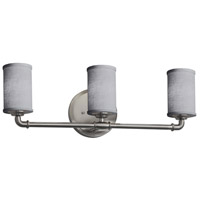 Justice Design FAB-8463-10-GRAY-NCKL Textile 3 Light 24 inch Brushed Nickel Bath Bar Wall Light Cylinder w/ Flat Rim
