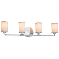 Justice Design FAB-8464-10-CREM-CROM Textile 4 Light 34 inch Polished Chrome Bath Bar Wall Light in Cream, Cylinder with Flat Rim, Incandescent