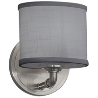 Justice Design FAB-8467-30-GRAY-NCKL Textile 1 Light 7 inch Brushed Nickel ADA Wall Sconce Wall Light, Oval