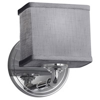 Justice Design FAB-8467-55-GRAY-CROM Textile 1 Light 6 inch Polished Chrome ADA Wall Sconce Wall Light, Rectangle