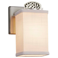 Justice Design FAB-8491-15-WHTE-NCKL Textile Malleo 1 Light 6 inch Brushed Nickel Wall Sconce Wall Light