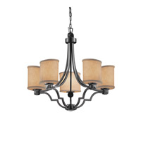 Textile LED 28 inch Matte Black Chandelier Ceiling Light in Cream, 3500 Lm 5 Light LED, Oval