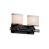 Justice Design Group Textile 2 Light Vanity Light in Matte Black FAB-8502-30-WHTE-MBLK