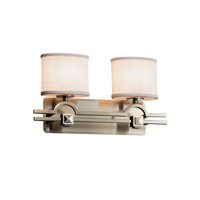 Justice Design Group Textile 2 Light Vanity Light in Brushed Nickel FAB-8502-30-WHTE-NCKL