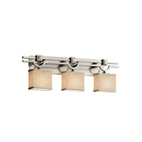 Textile LED 29 inch Brushed Nickel Vanity Light Wall Light in Rectangle, 2100 Lm 3 Light LED, Cream (CandleAria)