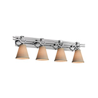 Textile LED 39 inch Polished Chrome Vanity Light Wall Light in Cream, 2800 Lm 4 Light LED, Cone