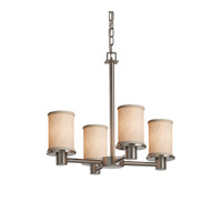 Textile 4 Light 20 inch Brushed Nickel Chandelier Ceiling Light in Cream, Fluorescent
