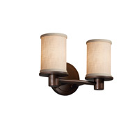 Justice Design Group Textile 2 Light Vanity Light in Dark Bronze FAB-8512-10-CREM-DBRZ