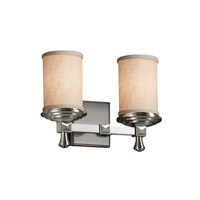 Justice Design Group Textile 2 Light Vanity Light in Brushed Nickel FAB-8532-10-CREM-NCKL