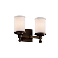Justice Design Group Textile 2 Light Vanity Light in Dark Bronze FAB-8532-10-WHTE-DBRZ