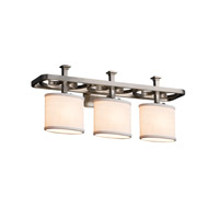 Textile LED 26 inch Brushed Nickel Vanity Light Wall Light in White, 2100 Lm 3 Light LED, Oval