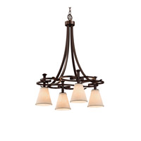 Justice Design Group Textile LED Chandelier in Dark Bronze FAB-8565-50-CREM-DBRZ-LED4-2800