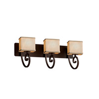 Textile 3 Light 26 inch Dark Bronze Vanity Light Wall Light in 10.75, Cream, LED, 25.5, Rectangle