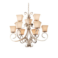 Textile 9 Light 37 inch Brushed Nickel Chandelier Ceiling Light in Cream, Fluorescent, Square Flared