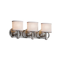 Textile 3 Light 28 inch Brushed Nickel Vanity Light Wall Light in White, Fluorescent, Oval