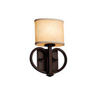 Justice Design Group Textile LED Wall Sconce in Dark Bronze FAB-8587-30-CREM-DBRZ-LED1-700