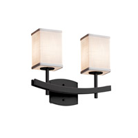 Textile LED 16 inch Matte Black Vanity Light Wall Light in Square with Flat Rim, 1400 Lm 2 Light LED, White