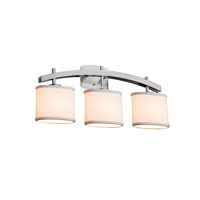 Textile LED 26 inch Brushed Nickel Vanity Light Wall Light in Oval, 2100 Lm 3 Light LED, Cream (CandleAria)