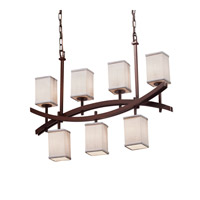 Textile 7 Light 6 inch Dark Bronze Chandelier Ceiling Light in White, Fluorescent, Square with Flat Rim
