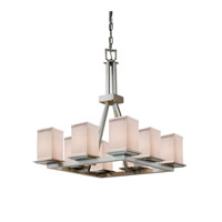 Justice Design Group Textile 8 Light Chandelier in Brushed Nickel FAB-8666-15-WHTE-NCKL