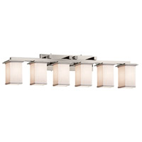Justice Design FAB-8686-15-WHTE-NCKL Textile 6 Light 45 inch Brushed Nickel Bath Bar Wall Light in White Incandescent Square w/ Flat Rim