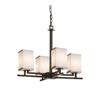 Textile 4 Light 23 inch Dark Bronze Chandelier Ceiling Light in White, Fluorescent, Square with Flat Rim