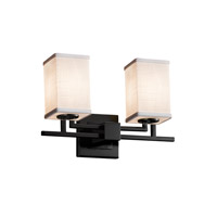 Justice Design Group Textile 2 Light Vanity Light in Matte Black FAB-8702-15-WHTE-MBLK