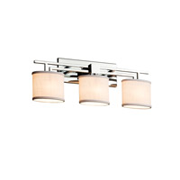 Justice Design Group Textile 3 Light Vanity Light in Polished Chrome FAB-8703-30-WHTE-CROM