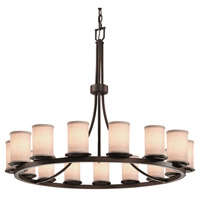 Textile 5 Light 42 inch Dark Bronze Chandelier Ceiling Light in White