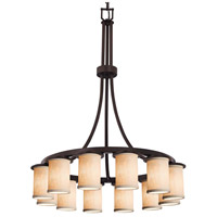 Justice Design FAB-8738-10-CREM-MBLK Textile 12 Light 28 inch Matte Black Chandelier Ceiling Light in Cream, Incandescent