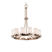 Justice Design Group Textile LED Chandelier in Brushed Nickel FAB-8763-10-WHTE-NCKL-LED12-8400