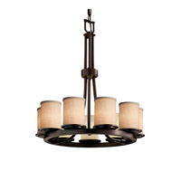 Justice Design Group Textile LED Chandelier in Dark Bronze FAB-8766-10-CREM-DBRZ-LED9-6300