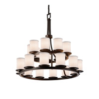 Justice Design Group Textile LED Chandelier in Dark Bronze FAB-8767-10-WHTE-DBRZ-LED21-14700