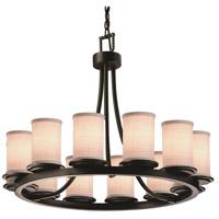 Justice Design FAB-8768-10-WHTE-MBLK-LED12-8400 Textile LED 28 inch Matte Black Chandelier Ceiling Light in White 8400 Lm LED Cylinder w/ Flat Rim