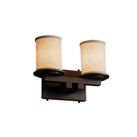 Textile LED 13 inch Dark Bronze Vanity Light Wall Light in 1400 Lm 2 Light LED, Cream (CandleAria)