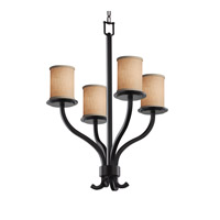 Justice Design Group Textile 4 Light Chandelier in Matte Black FAB-8780-10-CREM-MBLK